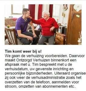 Verhuizen naar een seniorenappartement: verhuisregisseur Tim krijgt op de verhuisdag een knuffel van een bewoonster van Talma State in Heeg